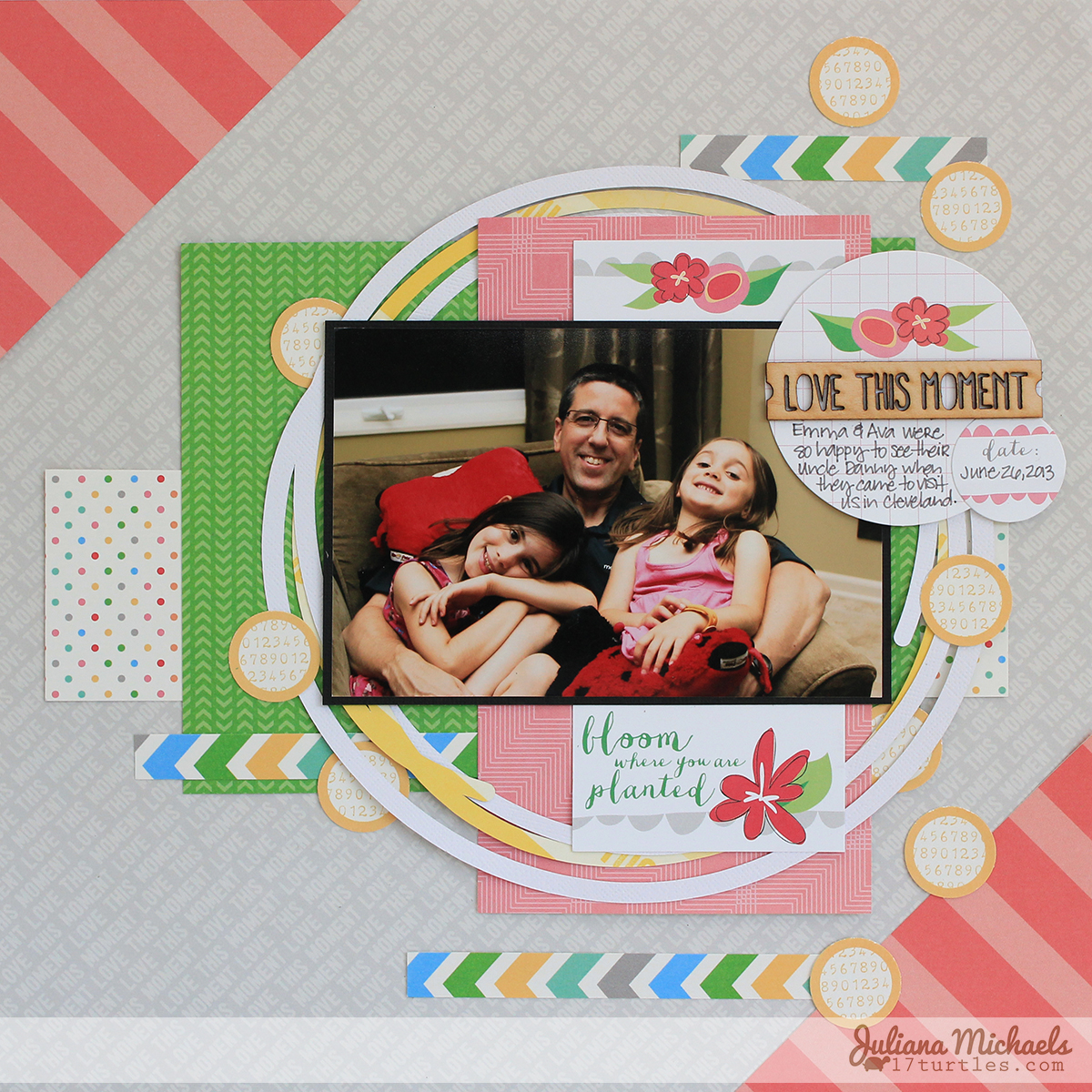 Love This Moment Scrapbook Page by Juliana Michaels #unendingcircles #ellesstudio #scrapbookpage