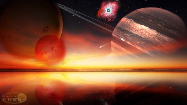 Ilustração artística de exoplaneta com 2 sois e um planeta com anéis