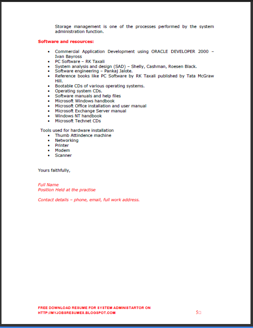System Administrator Resume 1 Year Experience | Writing A ...