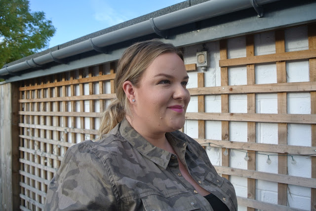Casual plus size outfit post featuring a River Island camo shacket Image