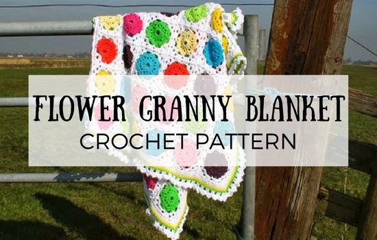 Flower granny square blanket, crochet pattern | Happy in Red