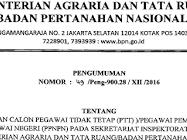 Lowongan Kerja Kementrian Agraria dan Tata Ruang BPN TA 2017
