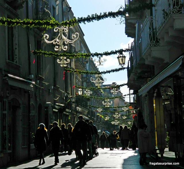 Decoração de Natal em Taormina, Sicília, Itália