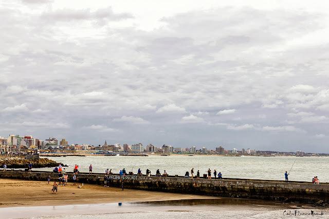 Mar del Plata vista desde la escollera frente al  mar