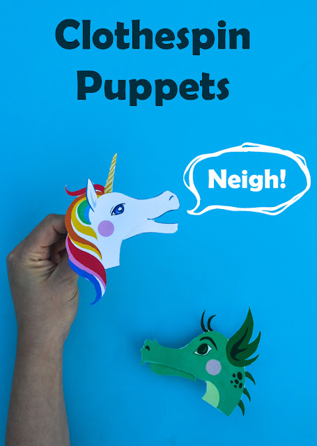 Clothespin Unicorn and Dragon Puppets for kids craft