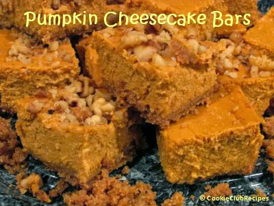 Pumpkin Cheesecake Bars Recipe at CookieClubRecipes