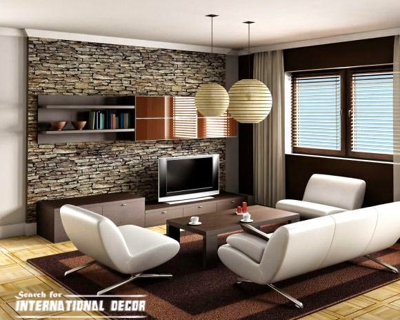 decorative natural stone wall for living room interior