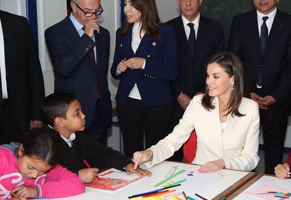 Queen Letizia and Princess Lalla Meryem visited the Escuela de la Segunda Oportunidad center. Felipe Varela suit