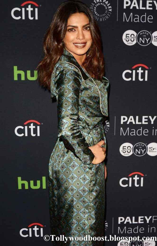 Priyanka Chopra Quantico at The Paley Center For Media In Hot Green Dress