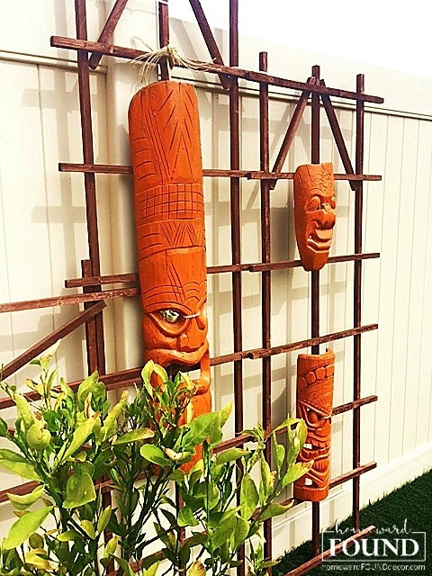 mid-century modern. contemporary, vintage, kitsch, tiki bar, backyard, home decor, diy, wood, trellises, painted, makeover, homewardFOUND decor blog