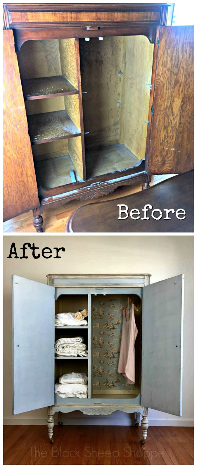 Before and after photos of armoire
