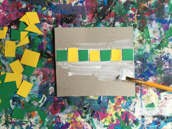press cut shapes into glue painted cardboard to make a pattern