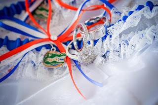 University of Florida Gators Lace Wedding Garter Set by Sugarplum Garters