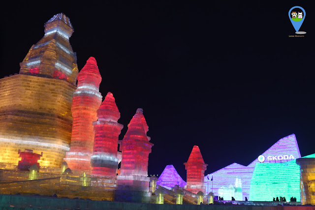 Exploring Harbin Ice Sculpture Exhibition at night in Heilongjiang, China