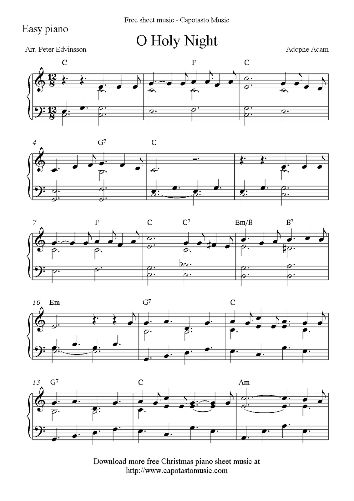 Free Easy Christmas Piano Sheet Music O Holy Night