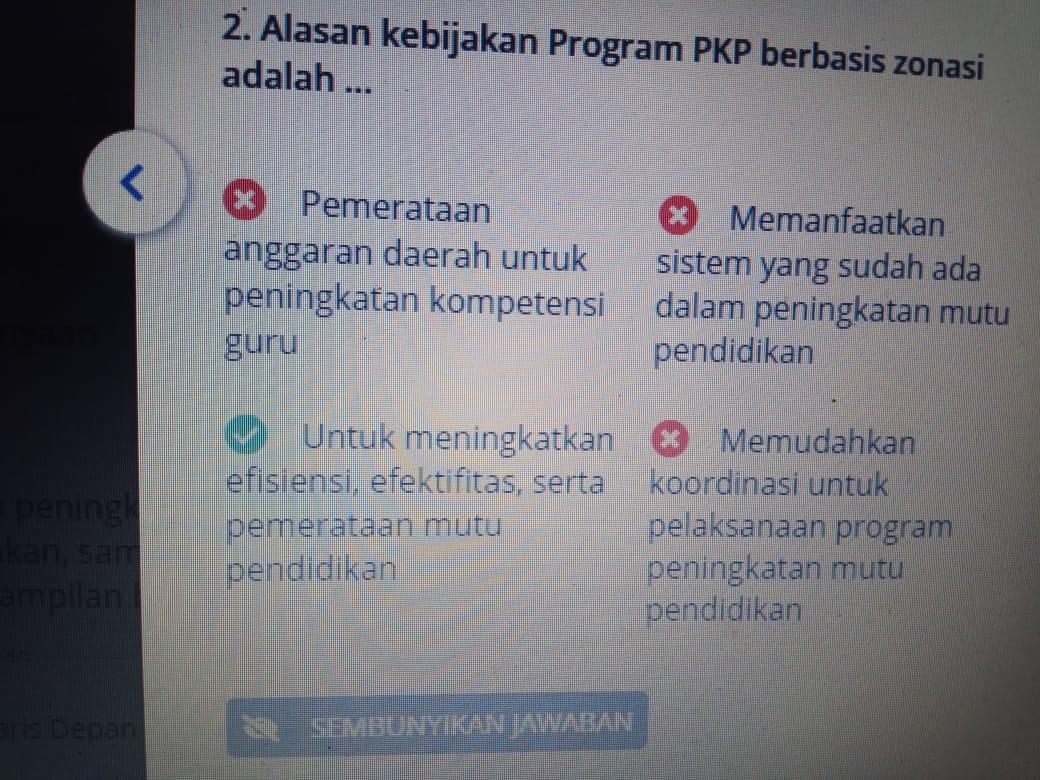 gambar soal pedagogik Post test pkp 2019