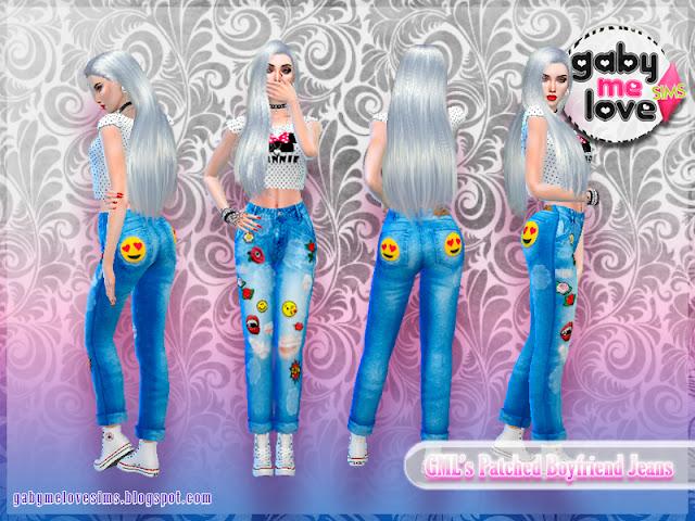 [Gabymelove Sims] GML's Patched Boyfriend Jeans, Estilo 2