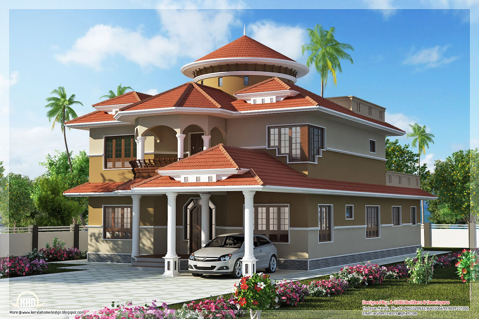 Beautiful dream home design in 2800 kerala home for 3d wallpaper for dream home