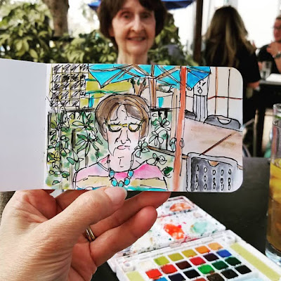 Sketchbook painting in travel journal at 310 Lakeside in Orlando Florida by Merrill Weber The Good Life of an Artist Blog