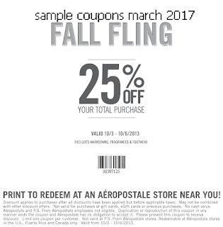 free Aeropostale coupons march 2017