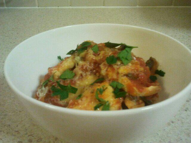chicken casserole with cheese and parsley