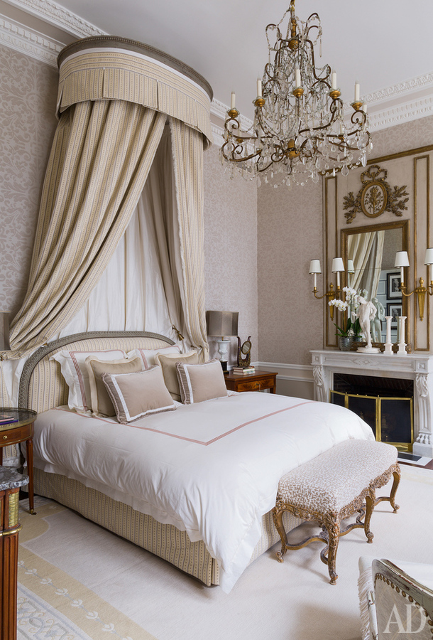 Bedroom - Apartment in the style of Louis XVI at Paris from decorator Jean-Louis Deniot
