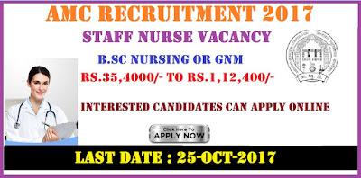 Ahmedabad Municipal Corporation Staff Nurse Recruitment 2017