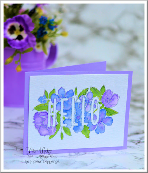 Water colour Hello card, CAS