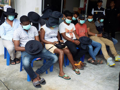 Photos: Nigerian, Cameroonian, others arrested in raids in Thailand