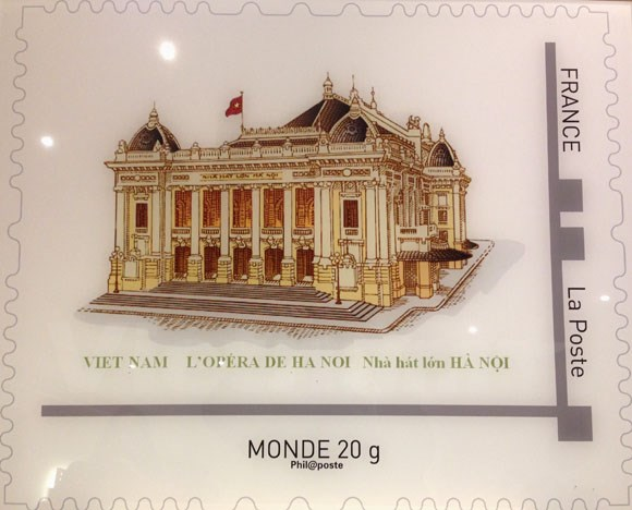 The stamps highlight Hanoi's Opera House, the Truong Tien Bridge spanning the Huong River in the central city of Hue, and the Nha Rong wharf in Ho Chi Minh City.