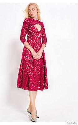 Vestidos de Encaje Cortos Rojos