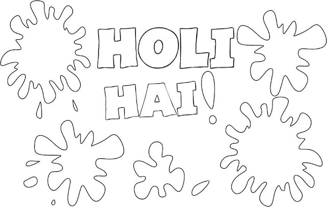 Happy Holi Colouring Page Pictures