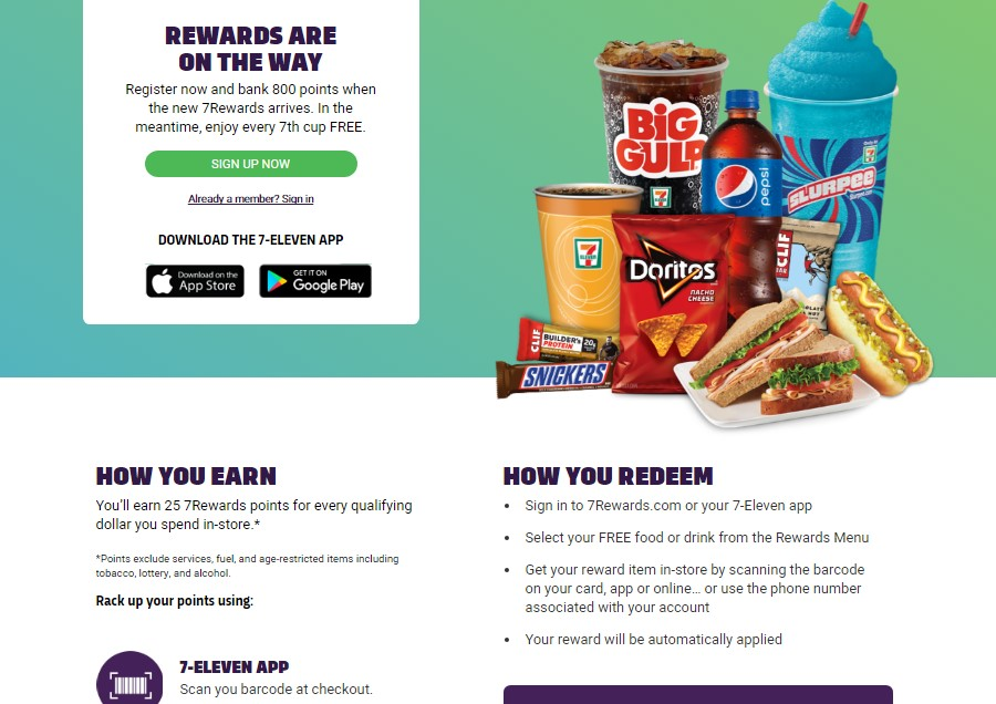 Download the 7 eleven app to get free snack