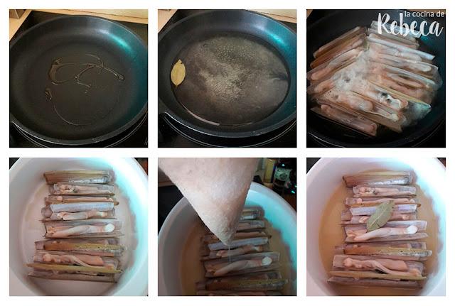 Receta de navajas al vapor: el cocinado