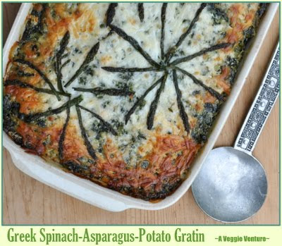 Greek Spinach-Asparagus-Potato Gratin (Spinaki me Sparaggia Orgraten)