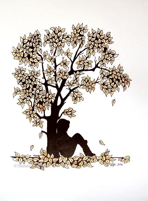 Rysunek inspirowany Zentangle - Drzewo herbaciane