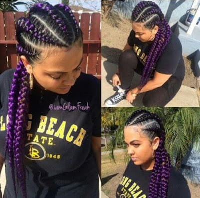 refers to a way of cornrowing which involves creating neat box 46 Gorgeous Ghana Stitch Braids styles Ponytail For African American Women