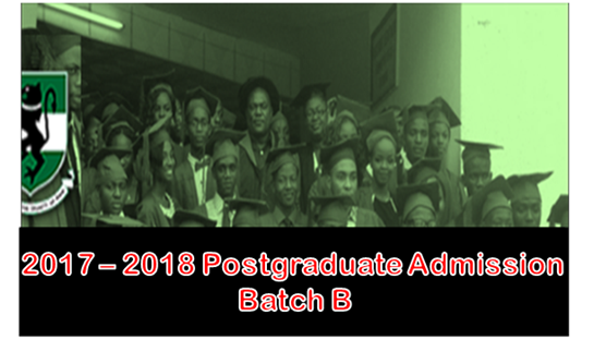 UNN Postgraduate Admission List (Batch A & B) for 2017/2018 Academic Session