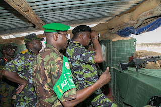 President Kenyatta in Somalia at Dhobley Camp. PHOTO | Courtesy