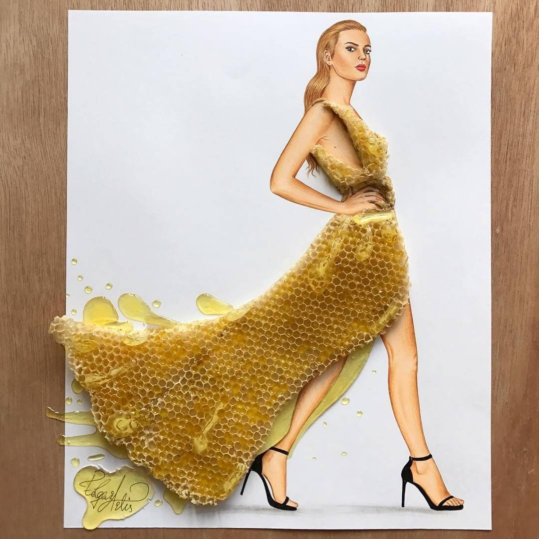 06-Honey-bee-honeycomb-Edgar-Artis-Drawing-with-Everything-Food-Art-and-More-www-designstack-co