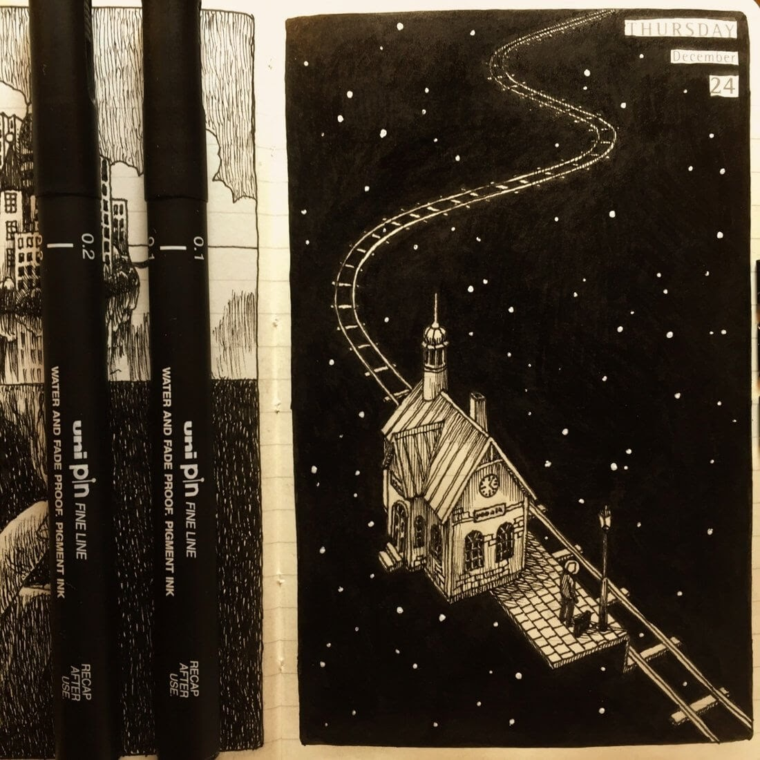 06-Space-Travel-Nina-Johansson-Moleskine-Diary-of-Surreal-Ink-Drawings-www-designstack-co