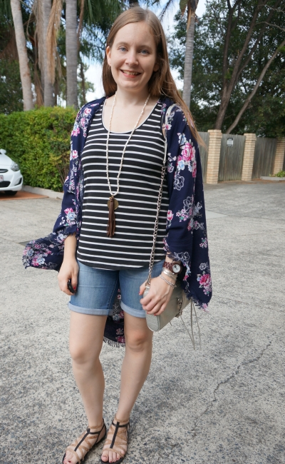 print mixing outfit with stripe tank, floral kimono and bermuda denim shorts | away from blue