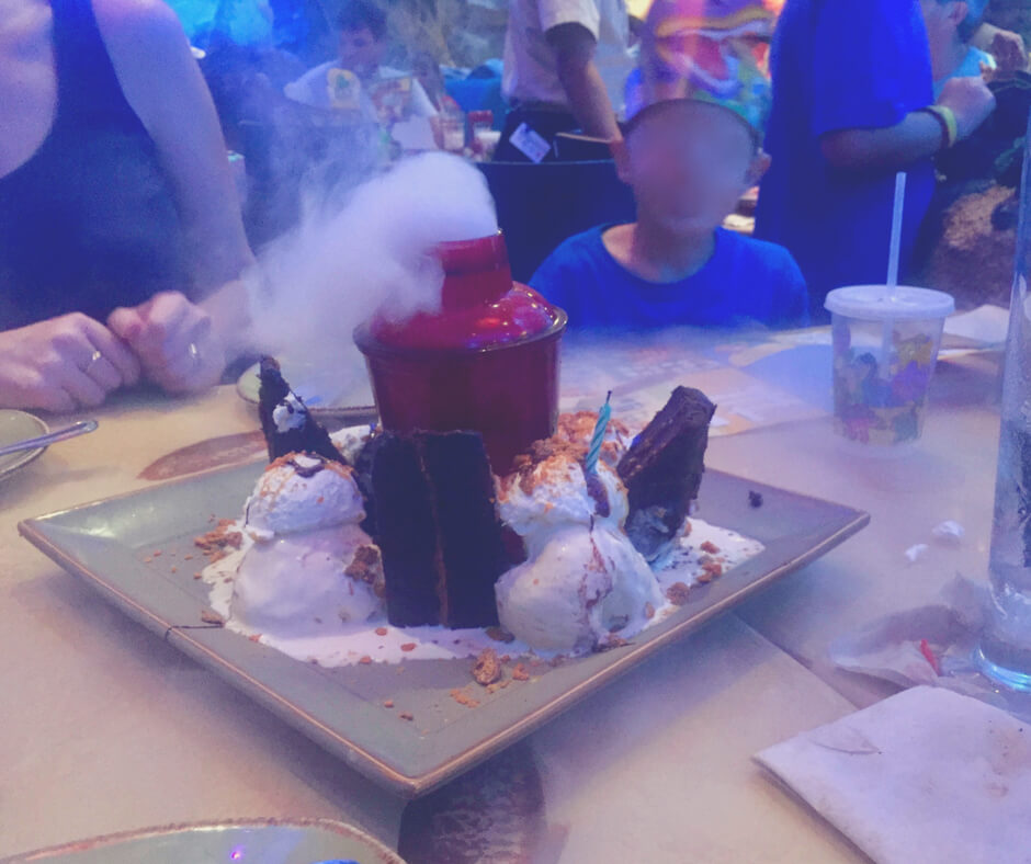 "A ""flaming"" dessert in T Rex restaurant in Disney Springs, Walt Disney World"