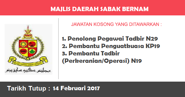 Jawatan Kosong di Majlis Daerah Sabak Bernam