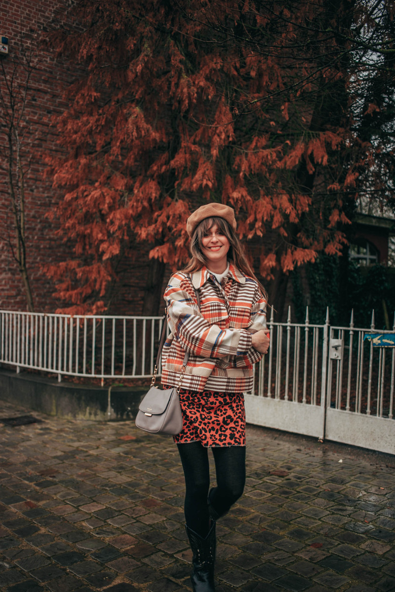 70s Vibes in Plaid Utility Jacket and Cowboy Boots