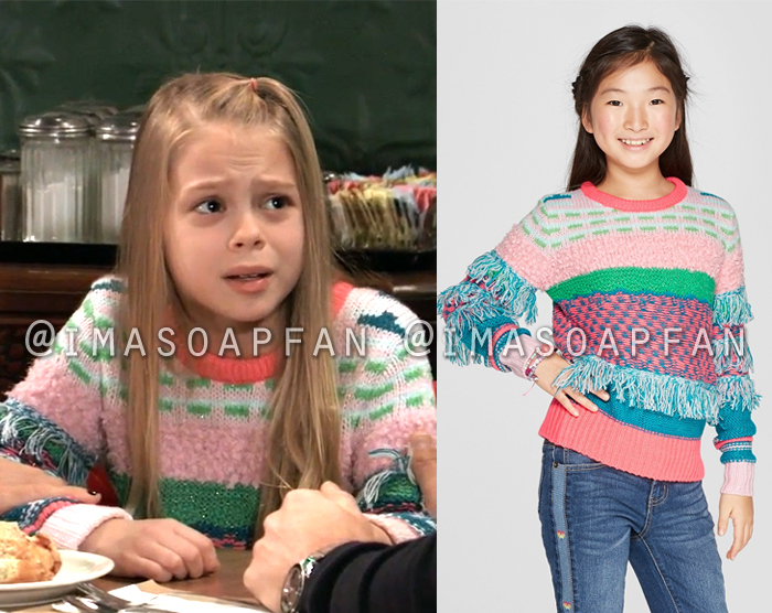 Charlotte Cassadine, Scarlett Fernandez, Pink Blue and Green Fringe Pullover Sweater,General Hospital, GH