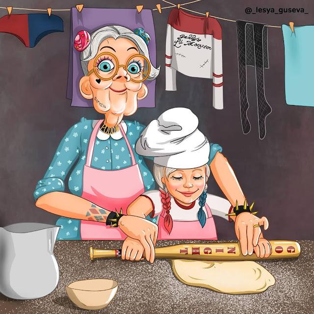 Arlequina e sua neta