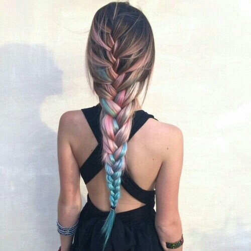 Colorfull fishtail hairstyle