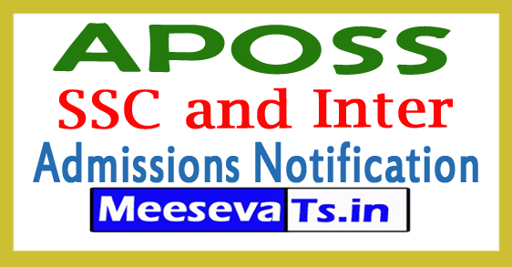APOSS SSC and Inter Admissions Notification 2018