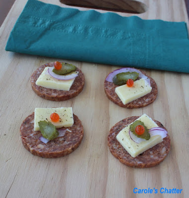 Carole's Chatter: Salami 'Crackers' - a quick low carb snack revisited